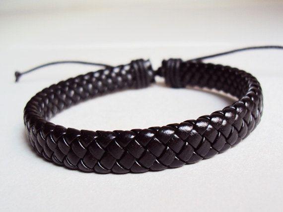Black Braided Leather Bracelet Unisex
