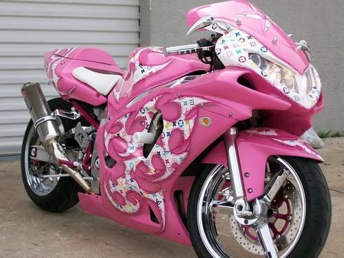 Louis Vuitton PINK motorcycle - WHAT?! Maybe a TAD bit over the top but this is freakin awesome!!!