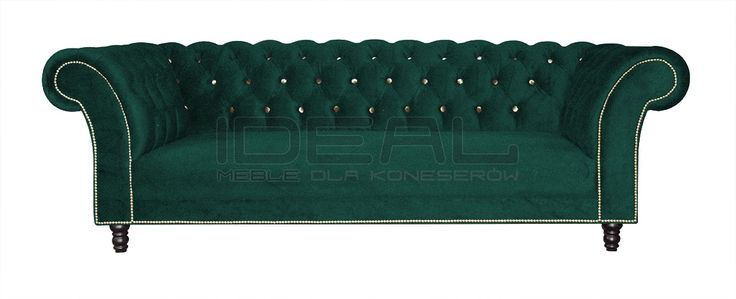 Sofy Stylowe - Sofa Chesterfield Kent - Ideal Meble Pikowana zielona sofa chesterfield,Velvet chesterfield sofa, green