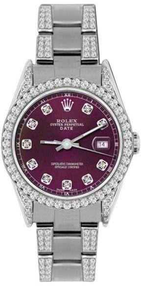 Rolex Date Stainless Steel & 4.5ct Diamond 34mm Watch