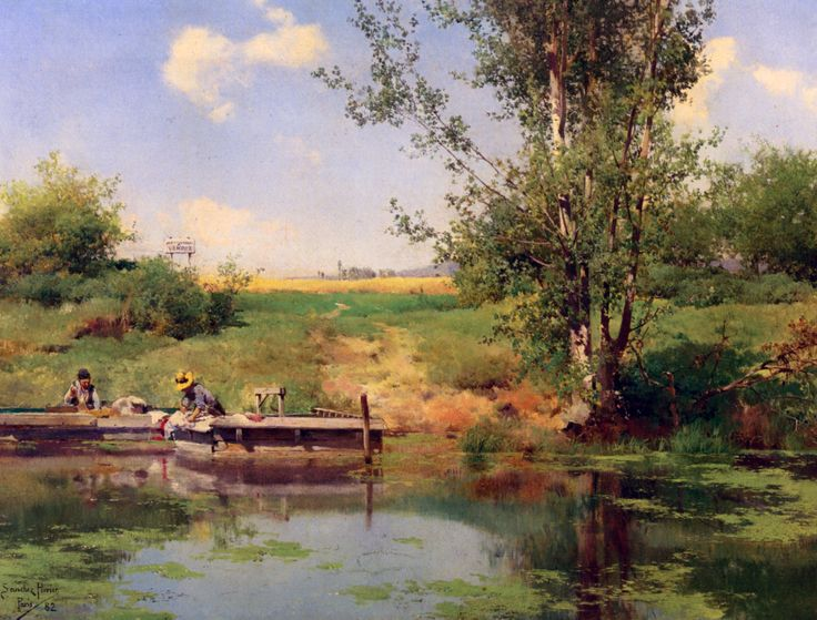 Emilio Sánchez Perrier - Laundry at the Edge of the River