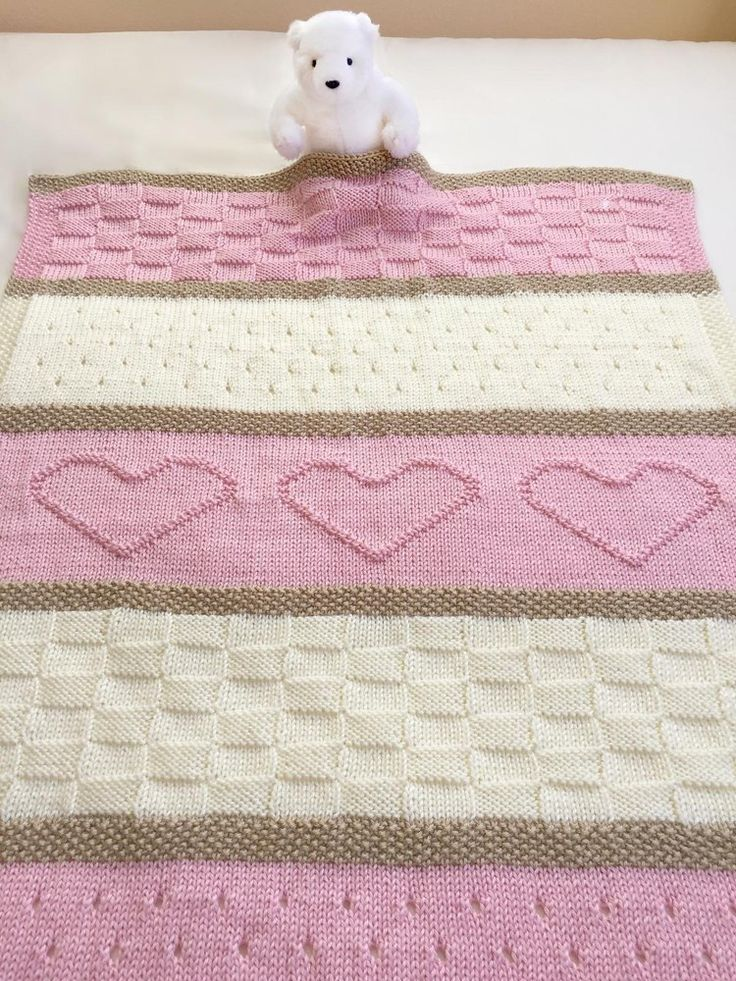 ♥ Pattern name: Baby Heart Blanket♥ One of my most popular patterns, over 1,000 sold with great reviews!♥ Knit Baby Blanket Pattern. This adorable baby blanket pattern is easy to knit with simple, basic stitches. It would be a wonderful gift for any sweet new baby.♥ Included for free with your purchase, is the full size Seaside Blanket pattern add on.♥ The beautiful blanket is knit with worsted weight yarn and size 8 needles.♥ The finished size is 30 by 35 inches.