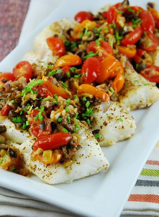 Low FODMAP Recipe and Gluten Free Recipe - Baked fish with olive tapenade http://www.ibssano.com/low_fodmap_baked_fish_olive_tapenade.html