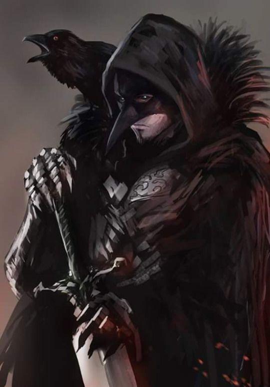 Sombrio, com um corvo..                                                                                                                                                                                 Mais