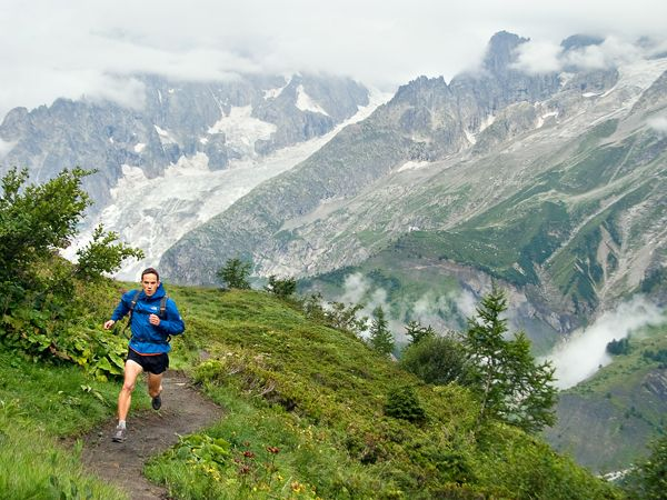 Picture of Topher Gaylord running through the Val Ferret, Tour of Mont Blanc, Courmayeur, Italy