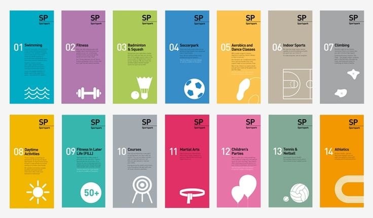Series of brochures for a sporting venue. The graphic language consists of bright colours with simple white shape graphics expressing forms of objects therefore there is a sense of continuity and of  a system of identification. The objects represent the sport/activity the brochure is about.