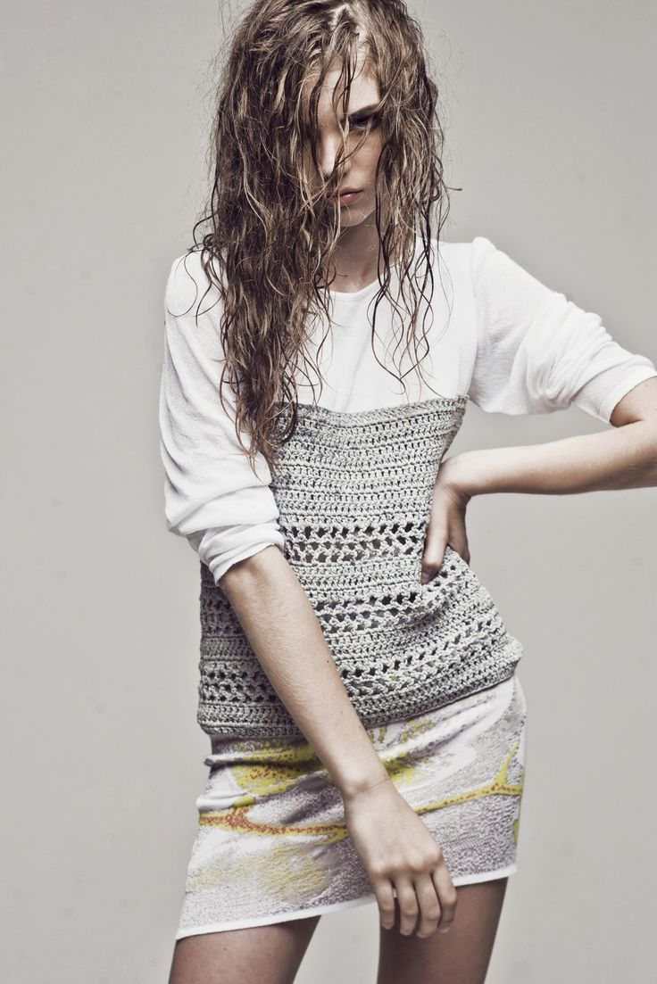 Gray crochet blouse. Love the combination of fabric and crochet.