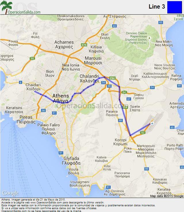 Mapa metro Atenas Line 3
