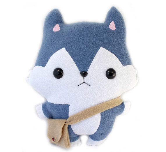 """Plushie Sewing Pattern PDF Cute Soft Plush Toy - Hachi Husky Wolf Stuffed Animal 14"""""""