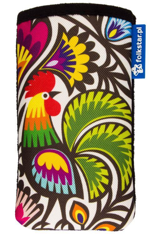 Folk etui na telefon - FOLK FLOWERS - motyw ludowy - kogut. Folk, folklor, ludowe, Łowicz, łowickie, wycinanka łowicka