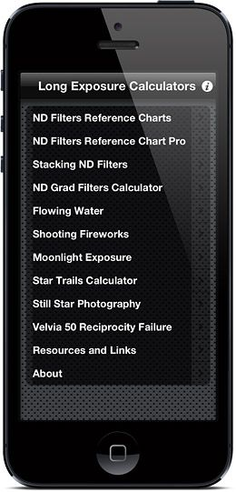 LExp or Long Exposure Calculators is an iPhone and iPod touch application and it is a collection of different calculators and cheat sheets (including well known and quite popular ND Filters cheat sheets) created to help photographer with shooting long exposures with Neutral Density (ND) filters, in low light and at night.