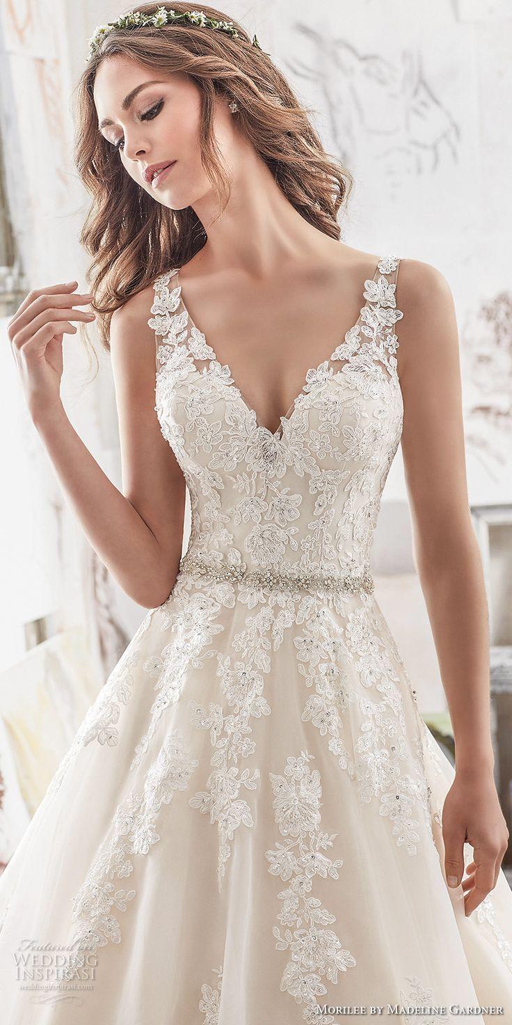 morilee spring 2017 bridal sleeveless embroidered strap v neck heavily embellished bodice romantic blush color a line wedding dress keyhole back chapel train (5510) zv