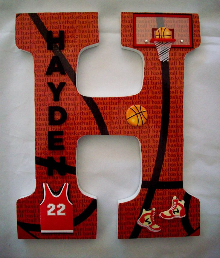 Wooden Wall Letters Decoration Ideas : Sports basketball wood letters wall letter nursery