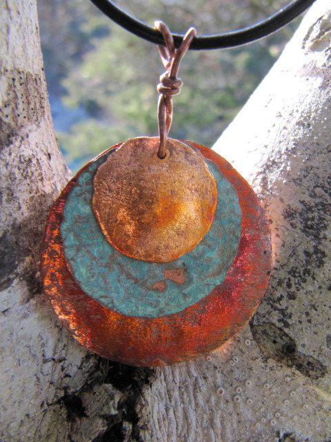 Triple Stack Copper Jewelry, Pendant, Fire Patina, Blue Patina Copper Medallion