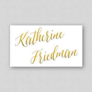 Printable Place Cards DIY Template - Digital Wedding Reception Place Cards Editable Template - Guest Name Cards - Gold Caligraphy