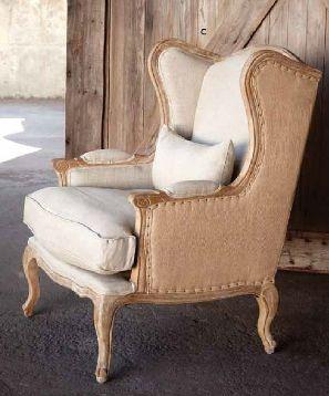 Burlap wingback chair