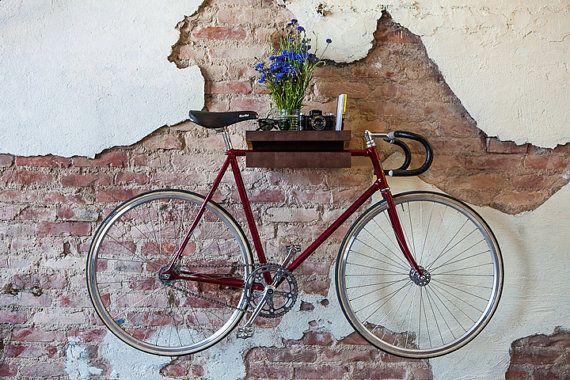 FIXA multi functional wood bike shelf wall holder by ChromeLtd