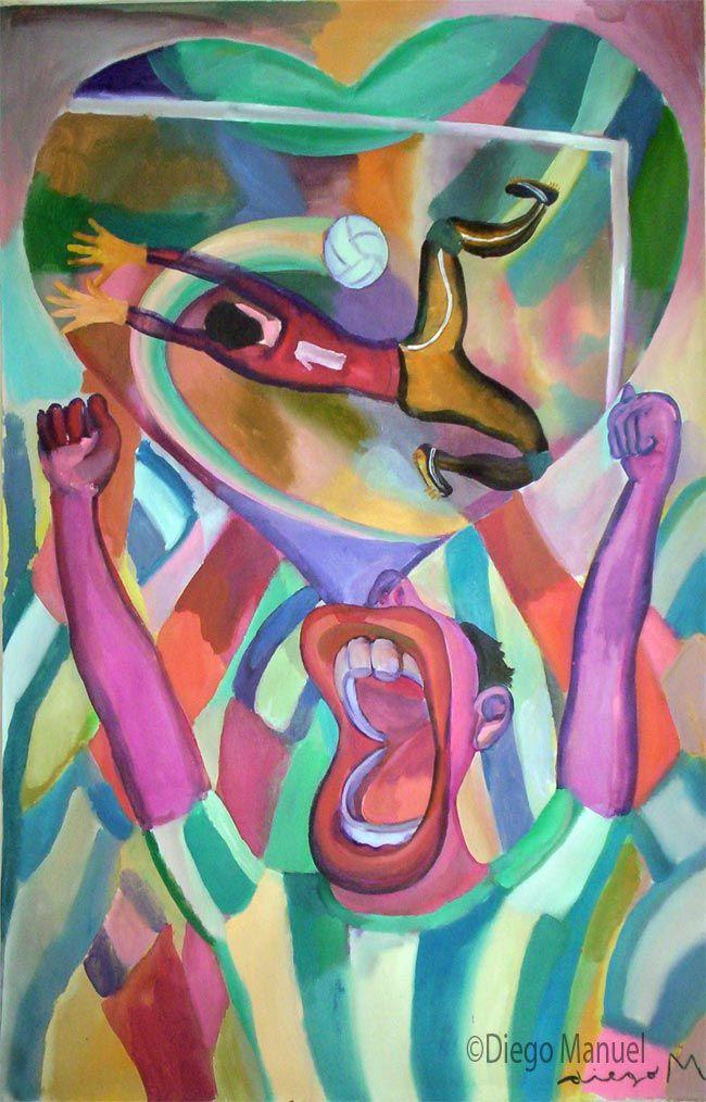 Grito de Gol, acrylic on canvas, 95 x 60 cm. 2006. Pintura sobre el futbol argentino a la venta del artista plastico Diego Manuel Rodriguez