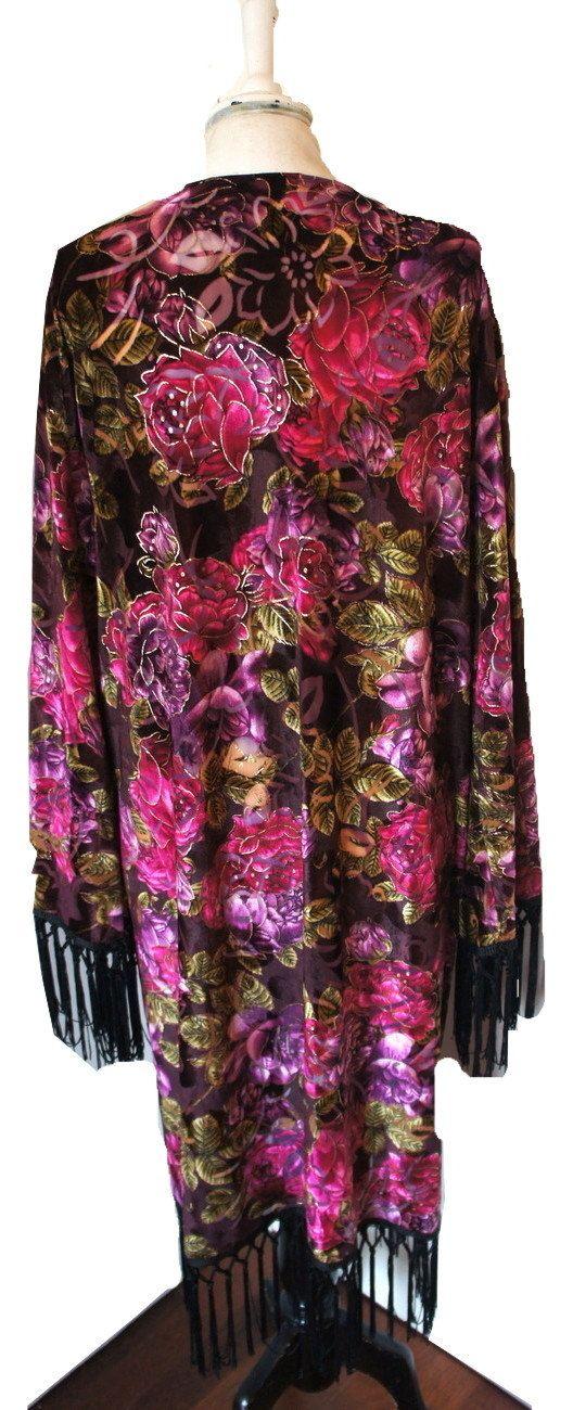 Kimono Fringe #Devore #Velvet Jacket #Boho Vintage by LeonoraBoutique