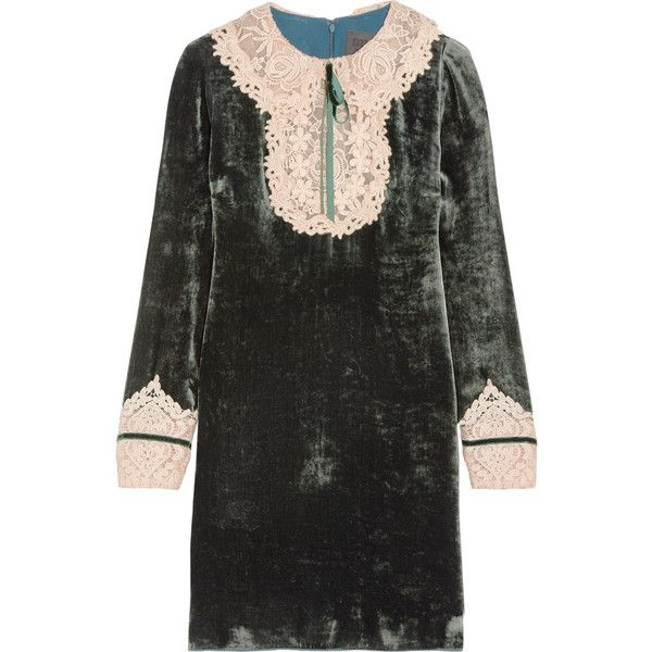Anna SuiCrocheted Lace-trimmed Velvet Mini Dress (€490) ❤ liked on Polyvore featuring dresses, anna sui, long sleeved dress, velvet cocktail dress, green dress, mini dress, long sleeve velvet dress and long sleeve cocktail dresses