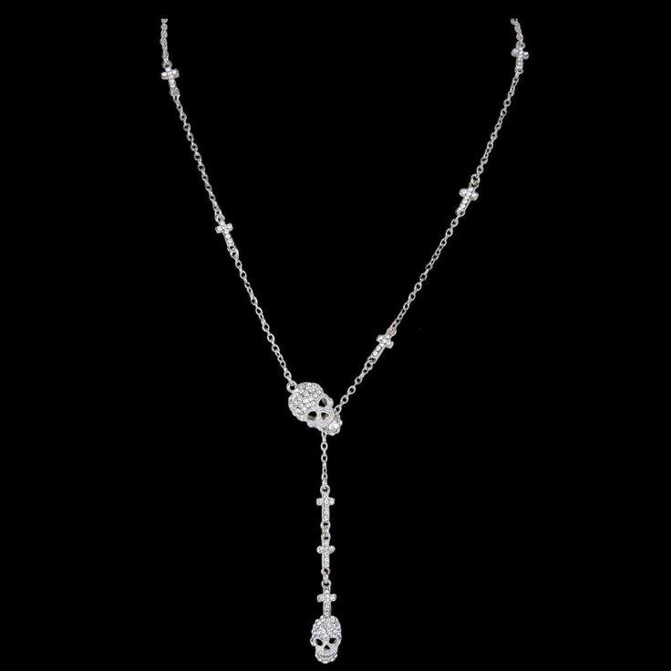 Vintage Skull Rhinestone Crystal Chain Necklace