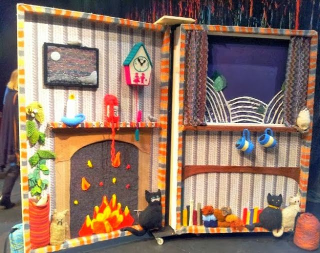 Diary of the Evans-Crittens: Silent Sunday Yarn Bomb, knitting installation Theatre set. Art and Crafts http://www.evans-crittens.com/2013/09/silent-sunday_29.html