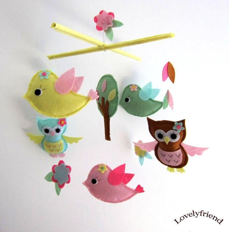 "Baby Crib Mobile - Baby Mobile - Mobile - Crib mobiles - Felt Mobile - Nursery mobile - "" Spring Owls and Bird "" design. $78.00, via Etsy."