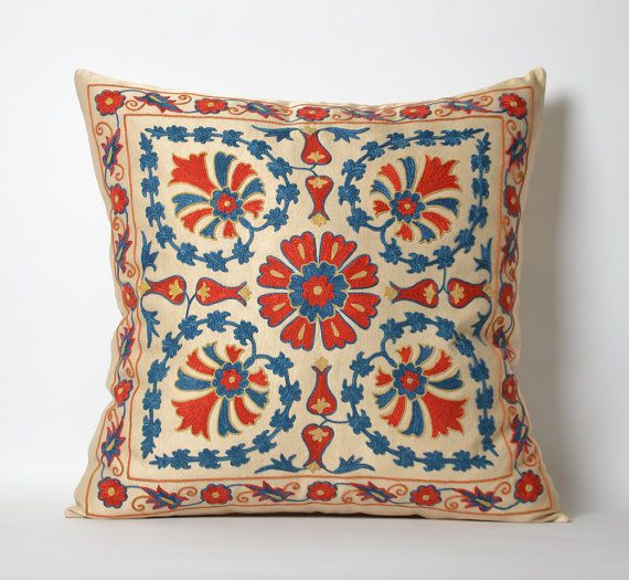 Suzani Pillow Cover Hand Embroidered Vintage Suzani by pillowme