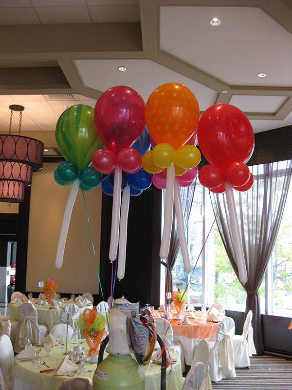 Lollipops helium balloon centerpieces close up candy