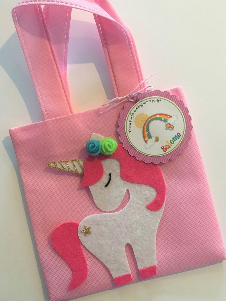 "These treat bags are a perfect addition to your Unicorn themed party. It's the perfect way to say, ""Thank You,"" for celebrating the birthday kid's big day! This listing is for a set of 12 reusable-durable mini tote Favor Bags and 12 personalized Thank You Tags. Each bag is approximately"