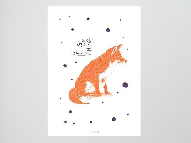 """Illustration: Poster mit Spruch """"Nicht ärgern, nur wundern"""" und schlauem Fuchs / Illustration: poster with saying and fox made by typealive via DaWanda.com"""