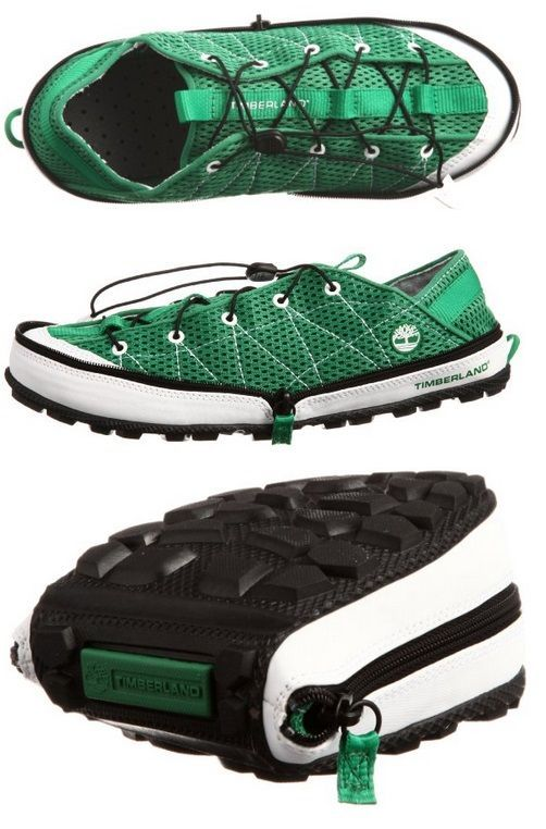 Timberland Radler Trail Camp shoes: Pliable water-repellant camping shoes that can be zipped up and easily stored when #backpacking.