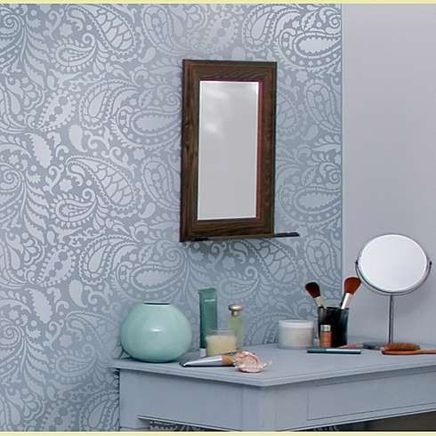 paisley, paisley, paisleyAllover Stencils, Features Wall, Modern Bathroom, Paisley Stencils, Bathroom Wall, Paisley Allover, Stencils Pattern, Paisley Wall, Accent Wall
