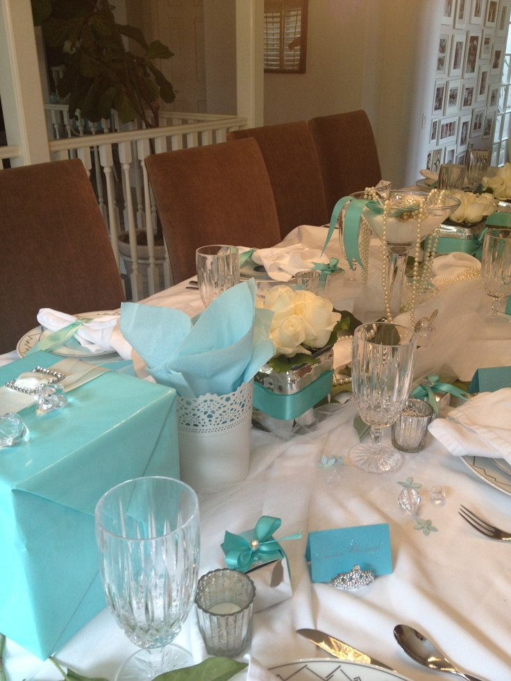 A Breakfast At Tiffany's Centerpiece for  a luncheon.