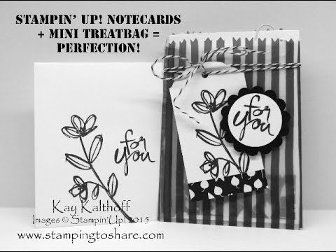 Note Cards + Treat Bags = Sheer Perfection! How To Video Included! Kay Kalthoff, Stamping to Share, Mother's Day, Back to Black Designer Series Paper