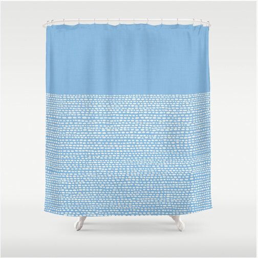 Minimalist shower curtain in placid blue, pantone color of 2014, modern bathroom decor, calming zen bath decor in pale blue, light blue by RoveStudio on Etsy https://www.etsy.com/listing/181849716/minimalist-shower-curtain-in-placid-blue
