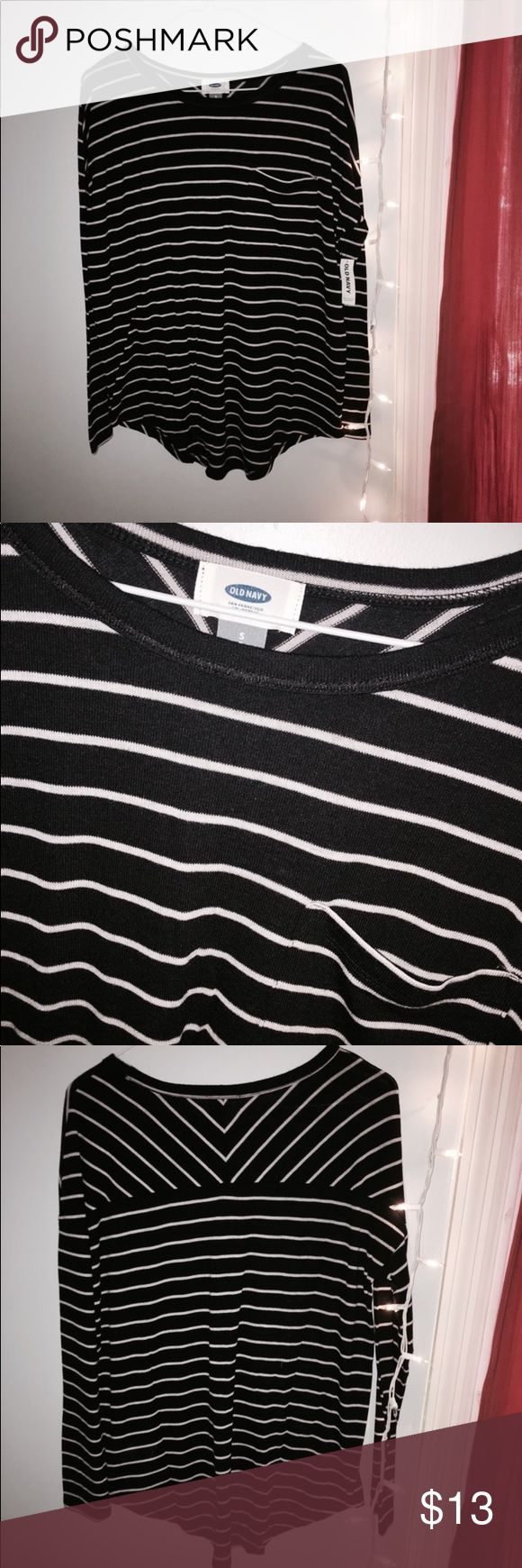 Old Navy, W/ TAGS. Size S Old Navy long sleeve shirt, ordered online, never worn, tags still on. Brand new shirt. Black and white striped. Size S. front pocket and super soft Old Navy Tops Tees - Long Sleeve