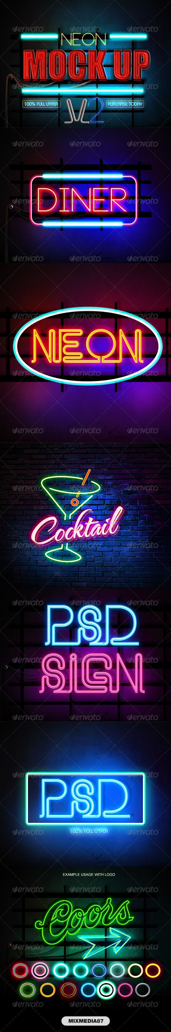Neon Styles V2 action, add-on, asl, bar, brick wall, casino, club, effect, font, glow, light glow, logo mock, mockup, neon, party, photoshop, psd, pub, retro, sign, signage, style, text, typography, vegas, wall, wire, Neon Styles V2