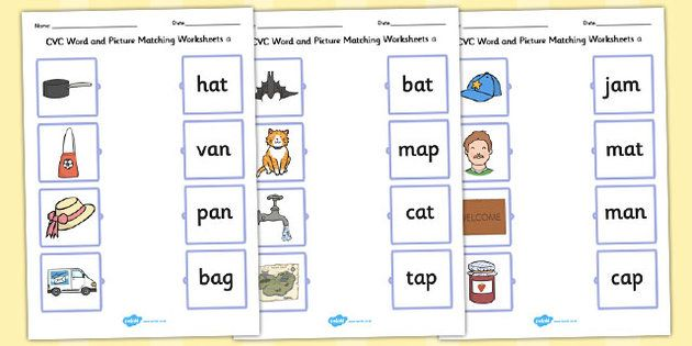 Cvc Word And Picture Matching Worksheets A Reading