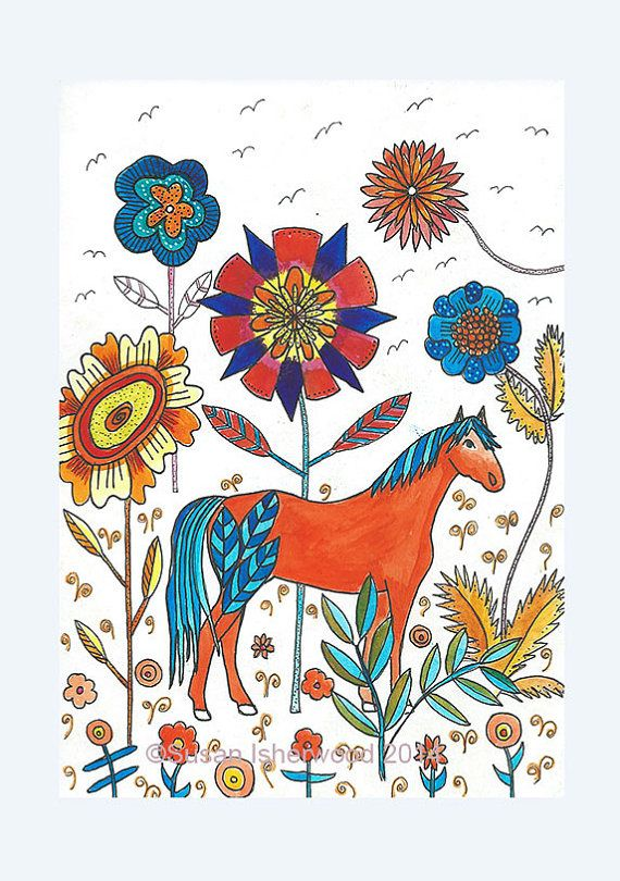 Horse Art  Life in a Forest of Flowers by DollyandBoo on Etsy