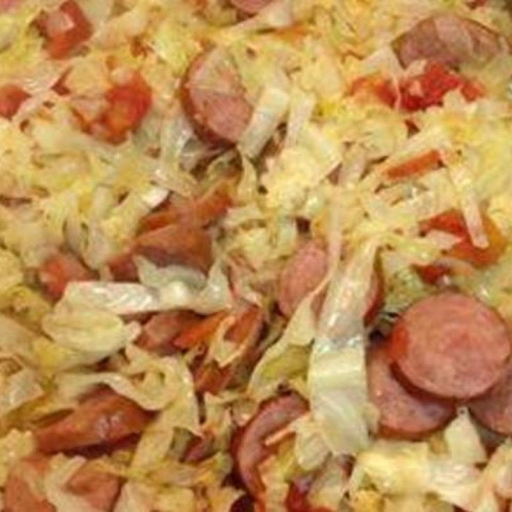 FRIED CABBAGE WITH SAUSAGE (great for low carbers) 1 stick butter or margarine 1 small head of cabbage, chopped 1 small onion, chopped 1 pound smoked sausage, sliced into round pieces (I use turkey) 1 (15 ounce) can diced tomatoes or rotel tomatoes 1/2 teaspoon salt 1/2 teaspoon pepper Melt butter in large skillet. Add cabbage, onion, and cook on medium high for about 5 minutes stirring to keep from sticking to pan. Add remaining ingredients, cover and simmer for 20 – 25 minutes.