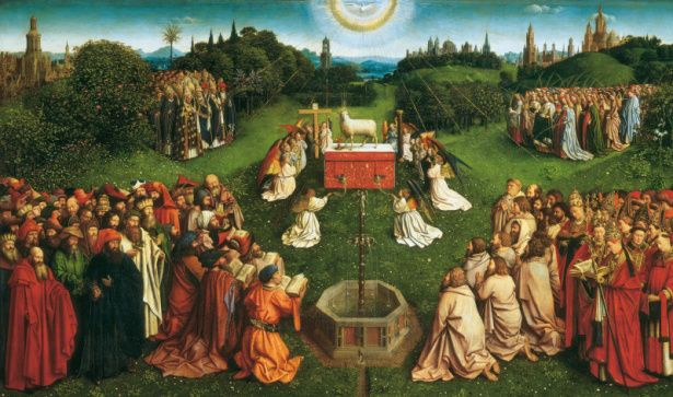 """""""Il polittico dell'agnello mistico"""" detto anche Pala di Gand. E' un dipinto monumentale, eseguito tra il 1426 e il 1432, ad olio su tavola, da Jan Van Eyck (1380-1441), ma forse iniziato dal fratello più anziano Hubert, su incarico di Josse Vijd, ricco uomo d'affari,"""
