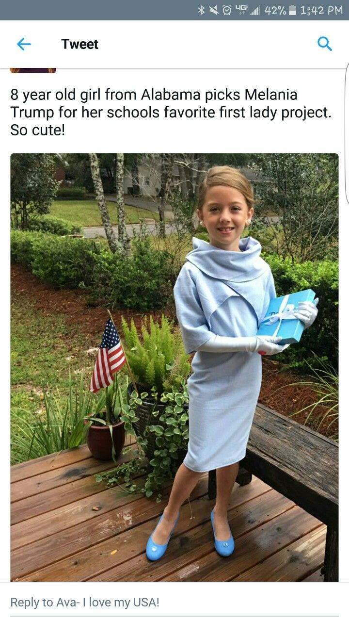 This has to be the sweetest thing! This patriotic young lady dressed up as First Lady Melania Trump for a school project. So precious... ~@guntotingkafir GOD BLESS AMERICA AND GOD BLESS PRESIDENT TRUMP!!!