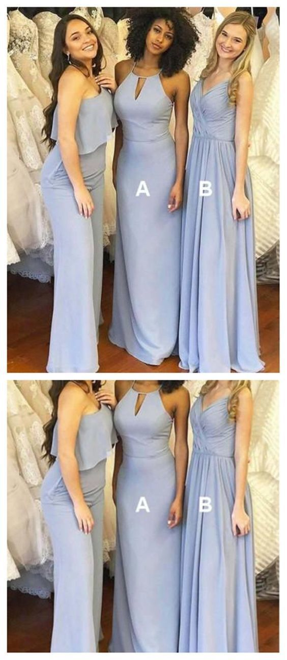 3a4e4b48ddf V Neck One Shoulder or Halter Dusty Blue Long Chiffon Bridesmaid Dress 1841  by RosyProm