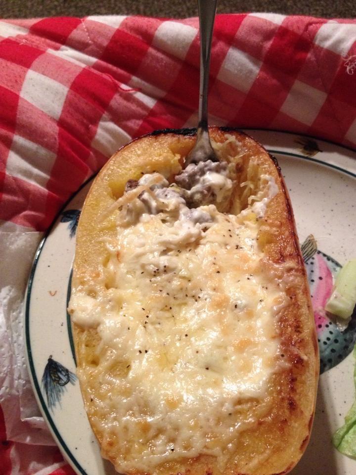 THM (S) - Stuffed Spaghetti Squash, shared by Julie Carroll-Despres - Cut…