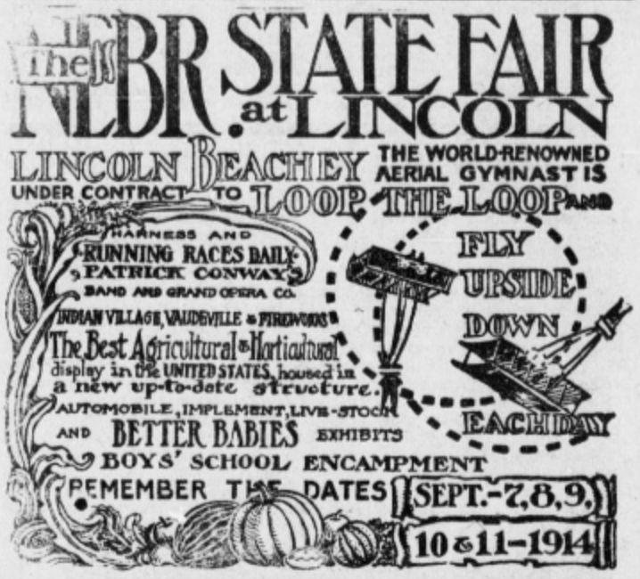 Nebraska State Fair advertisement in 1914 newspaper. #design #newspaperads #fair #carnival #oldtimey #interestinghistory #history #UShistory