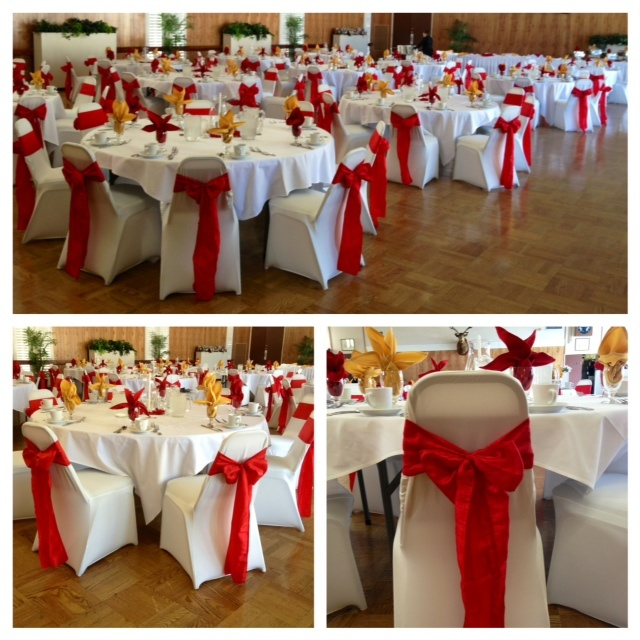 Our Beautiful Ivory Spandex Chair Covers Red Crinkle Taffeta Sashes For Ponderosa S Retirement Party At