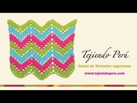 Punto zig zag calado en crochet Español