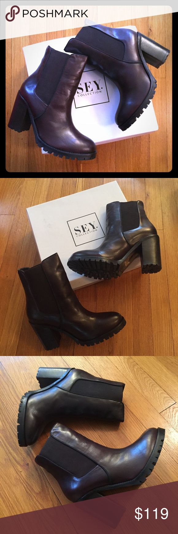 """NIB Seychelles Dark Brown Leather Platform Boots I bought these earlier in the year, and convinced myself they weren't too tight. I'm facing reality and letting them go. They are a US 10 but could likely fit a size 9. Measurements are 3.75"""" across, 9"""" Tie to heel, 6"""" shaft, 3.75"""" heel including a .5"""" lug sole platform. Genuine dark brown leather upper and lining. Ships in original box and packaging. Leather smells amazing when you take them out of the box! Please note these are unworn, but…"""