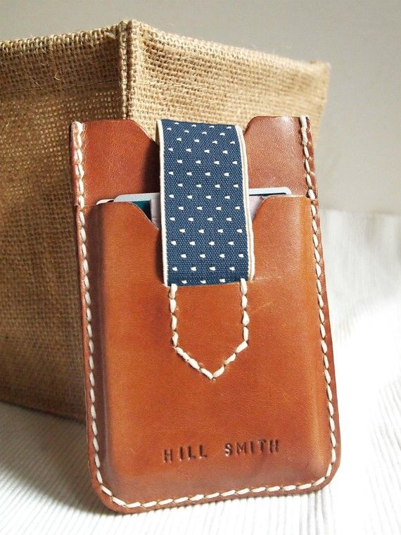 Personalized iPhone & Card Case with Elastic Band - Leather - Hand Stitched